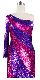 Short patterned dress in metallic purple and fuchsia sequin spangles fabric in a one-sleeve cut front view