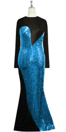 Long dress in metallic turquoise sequin spangles fabric and black stretch fabric with flared hemline front view