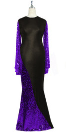 Oversized sleeve gown in metallic purple sequin spangles fabric and black stretch fabric with flared hemline front view