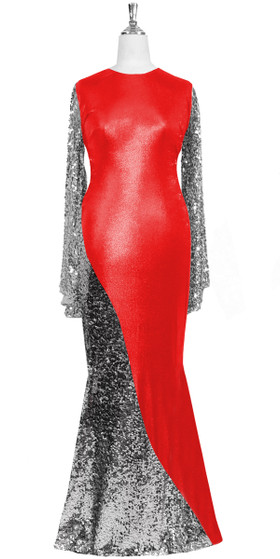 Oversized sleeve gown in metallic silver sequin spangles fabric and red stretch fabric with flared hemline front view