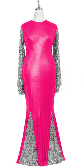 Oversized sleeve gown in metallic silver sequin spangles fabric and pink stretch fabric with flared hemline front view