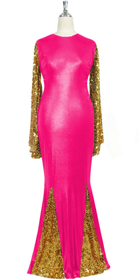Oversized sleeve gown in metallic gold sequin spangles fabric and pink stretch fabric with flared hemline front view