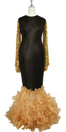 Oversized sleeve gown in metallic gold sequin spangles fabric and black stretch fabric with beige organza ruffles hemlinem front view