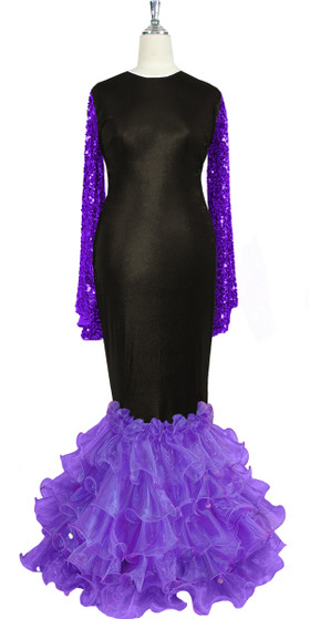 Oversized sleeve gown in metallic purple sequin spangles fabric and black stretch fabric with purple organza ruffles hemline front view