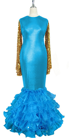 Oversized sleeve gown in metallic gold sequin spangles fabric and blue stretch fabric with turquoise organza ruffles hemline front view