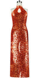Long dress in metallic copper sequin spangles fabric and keyhole Chinese neckline front view