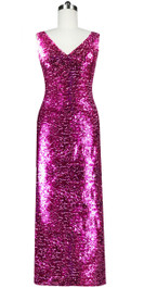 Long dress in metallic fuchsia sequin spangles fabric and cowl back front view