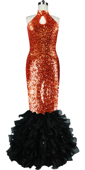 Long dress in metallic copper sequin spangles fabric with black organza ruffles and keyhole Chinese neckline front view