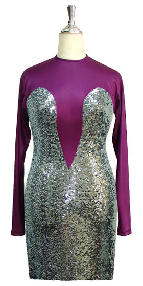 Short patterned dress with long sleeves in silver sequin spangles fabric and purple stretch ITY fabric front view