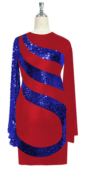 Short patterned dress in metallic blue sequin spangles fabric and stretch red fabric with oversized sleeves front view