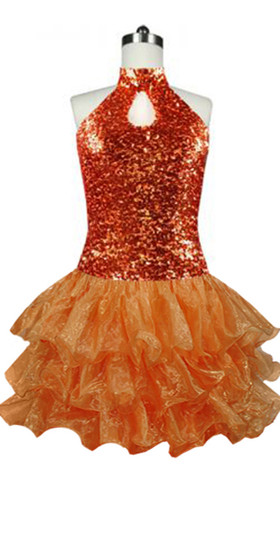 Short  Sequin Fabric Dress In Copper With Ruffle Hemline With A Keyhole Chinese Collar Front View
