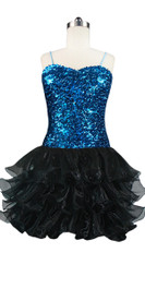 Short Sequin Fabric Dress In Turquoise Sequin Spangles Fabric With Ruffle Hemline In Black Front View