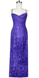 A Long Handmade Sequin Dress, In Purple 8mm Cupped Sequins Front View