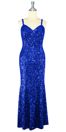Long Handmade 8mm Cupped Sequin Dress in Hologram Dark Blue front view