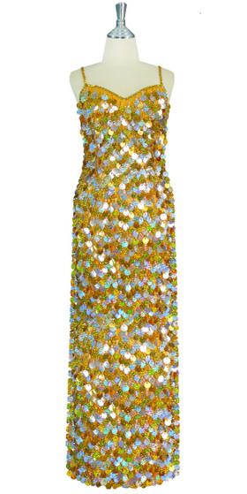 Long Handmade Paillette Sequin Gown in Mixed Hologram Silver and Gold front view