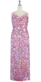 Long Handmade Paillette Sequin Gown in Hologram Pink front view