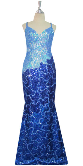 Handmade Long Patterned Sequin Dress in Blue 8mm Cupped Sequins Front View