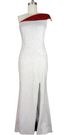 Handmade White and Red Long Patterned One-Shoulder Dress in 8mm Cupped Sequins with Fishtail Front View