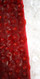 Handmade White and Red Long Patterned One-Shoulder Dress in 8mm Cupped Sequins with Fishtail Close Up View