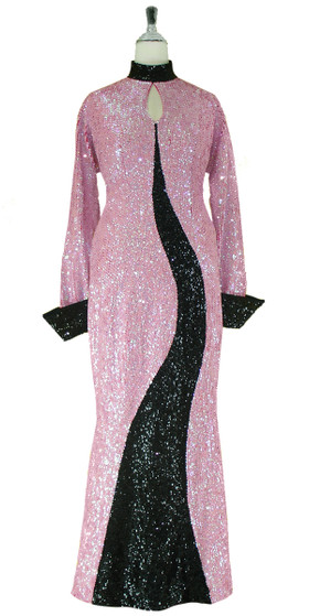Long Handmade Sequin Gown with Collar and Sleeves in Black and Pink Front View