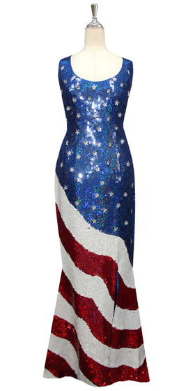 Long Handmade Patterned Sequin Stars and Stripes USA Gown in Red, White and Blue Front View