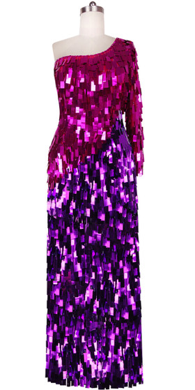 Long Handmade One-shouldered Rectangular Paillette Sequin Dress in Fuchsia and Purple Front View