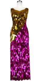 Long Handmade Sweetheart Neckline Rectangular Paillette Sequin Dress in Fuchsia and Gold front View