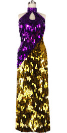 Long Handmade Rectangular Paillette Sequin Dress in Gold and Fuchsia Front View