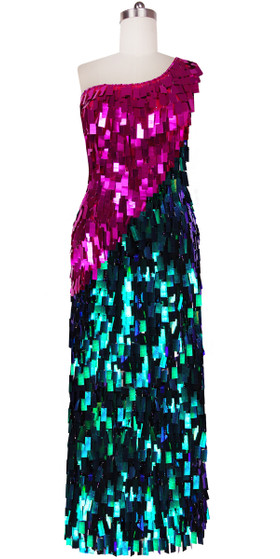 Long Handmade One-shouldered Rectangular Paillette Sequin Dress in Fuchsia and Green Front View