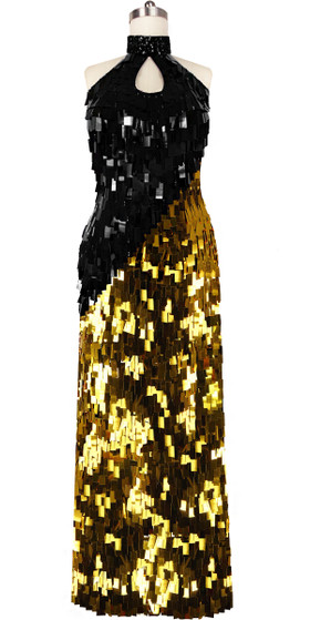 Long Handmade Rectangular Paillette Sequin Dress in Gold and Black Front View