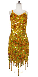 Short Handmade 20mm Paillette Hanging Hologram Gold Sequin Dress with Jagged, Beaded Hemline front view