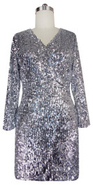Sequin Fabric Short Dress in Silver Metallic Sequins with Sleeves Front View