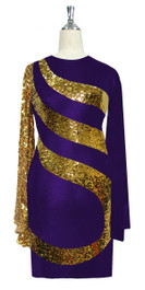Short patterned dress in metallic gold sequin spangles fabric and stretch purple fabric with oversized sleeves Front
