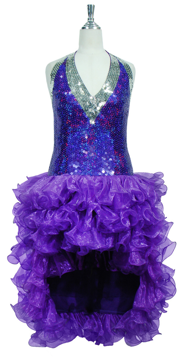 550d2516 Short Handmade 10mm Flat Sequin Dress in Purple with Silver Trim and an  Organza Ruffled Skirt