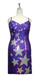 Short Star Patterned Handmade 10mm Flat Sequin Dress in Hologram Purple and Silver front view