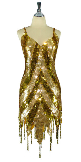 Short Patterned Handmade 10mm Flat Sequin Dress in Gold with Jagged and Beaded Hemlinen front view