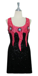 3a642a40 Short Handmade Patterned Cupped 8mm Sequin Dress in Black and Pink Front  View