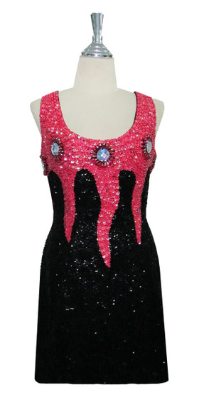 Short Handmade Patterned Cupped 8mm Sequin Dress in Black and Pink Front View