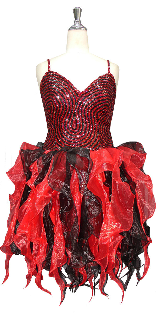 cf89631cafb6 Short Handmade Patterned Ruffled Sequin Dress in Black and Red Front View