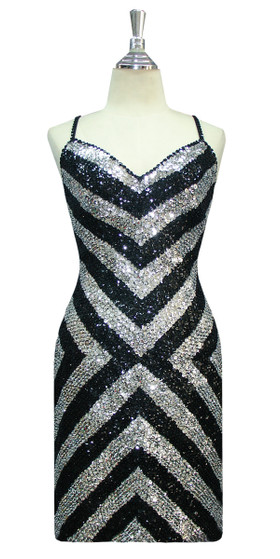 Short Handmade Patterned 8mm cupped Sequin Dress in Silver and Black Front View