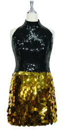 Short Handmade 10mm Flat Black Sequin Dress with Gold Paillette Sequin Skirt Front view