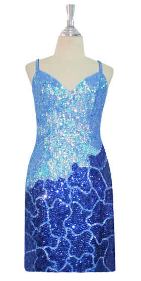 Short Patterned Handmade 8mm cupped Sequin Dress in Blue and Silver front view