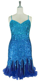 d7f24dda Short Handmade 8mm cupped Blue Sequin Dress with Pleated Chiffon Hemline  Front view