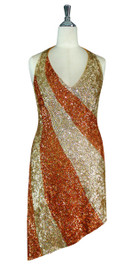 574f3268 Short Patterned Handmade 8mm cupped Sequin Dress in Metallic Hologram Gold  and Copper Front View