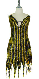 Short Handmade  8mm  Cupped with V neck Sequin Dress in Yellow and Black front view