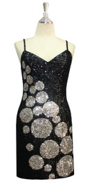 Short Patterned Handmade 8mm Flat Sequin Dress in Black and Silver front view