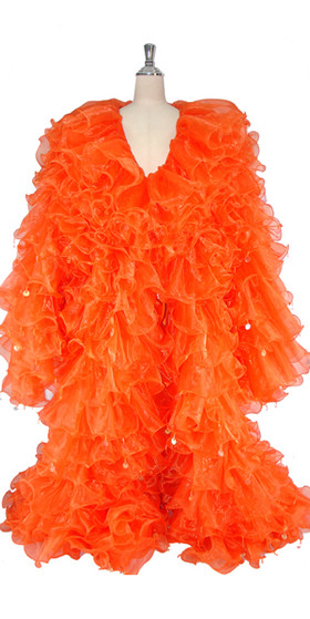 Long Organza Ruffle Coat with Long Sleeves and Highlight Sequins in Orange from SequinQueen.