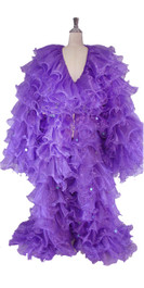 Long Organza Ruffle Coat with Long Sleeves and Highlight Sequins in Purple from SequinQueen.