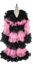Long Organza Ruffle Coat with Long Sleeves and Highlight Sequins in Black and Pink from SequinQueen.