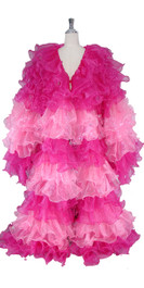 Long Organza Ruffle Coat with Long Sleeves and Highlight Sequins in Fuchsia and Pink
